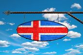 Iceland Flag On A Signboard. Oval Signboard Colors Flag Iceland Hangs On A Metal Forged Structure. T poster