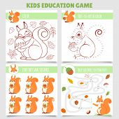 Cartoon Squirrel Kids Games. Find Two Same Pictures, Squirrel And Nut Maze, Coloring Game And Dot To poster