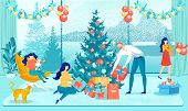 Happy Christmas And New Year Family Preparation. Parents Packing Gifts Boxes. Children Decorating Xm poster