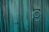 Light Blue And Green Aquamarine Dirty And Grunge Wooden Panels Texture. Closeup Detailed Texture. Te poster