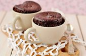 stock photo of fancy cakes  - Two microwave cooked chocolate cakes in cups - JPG