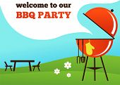 stock photo of hamburger-steak  - BBQ Party invitation - JPG
