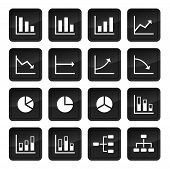Icons Of Various Charts And Diagrams With Black Buttons In Background