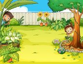 Illustration of a boy and a girl hiding in the garden