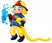 Illustration of a fireman holding a yellow water hose on a white background