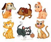 image of lovable  - Illustration of the lovable pets on a white background - JPG