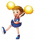 Illustration of a cheerleader with yellow pompoms on a white background
