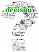 Decision making concept in tag cloud on white background