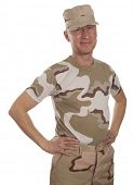 foto of conscript  - Soldier in camouflage standing on a white background - JPG