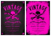 Vector Vintage Pink Poster Set. Easy to edit, all pieces are separated.