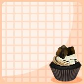 Illustration of a stationery with a chocolate cupcake