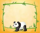 Illustration of a panda and the empty green frame on an orange background