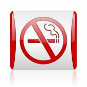 no smoking red and white square web glossy icon