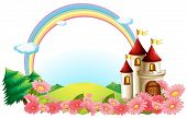 picture of yellow castle  - Illustration of a castle with blooming flowers on a white background - JPG