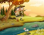 stock photo of boy scout  - Illustration of a girl and a boy at the riverbank - JPG