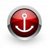 anchor red circle web glossy icon