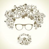 human face is made up of icons of science. The concept of learning, research and discovery. Modern t