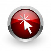 click here red circle web glossy icon