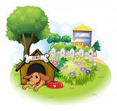 Illustration of a dog inside a doghouse across the big buildings on a white background