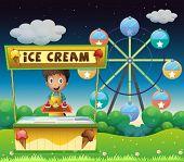 Illustration of a boy with an icecream stall near the ferris wheel