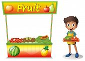 Illustration of a young boy selling fruits on a white background