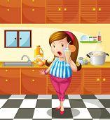 Постер, плакат: Иллюстрация леди Холдинг апельсиновый сок внутри на кухне