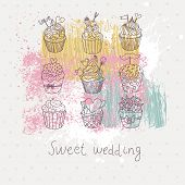 Colorful tasty background in vector. Sweet cupcakes on stylish bright abstract wallpaper. Ideal for
