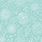 Stylish floral seamless pattern in blue colors. Ranunculus flowers. Seamless pattern can be used for