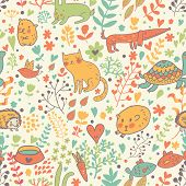 Funny animals in flowers. Cartoon seamless pattern for childish designs. Hamster, cat, dog, turtle.