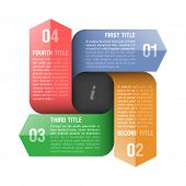 Four directions arrows design element. Fully editable vector.