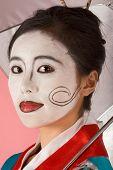 Geisha Japanese Woman With Umbrella And Facepaint