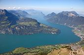 Aerial view of lake Luzern(Vierwalderstattersee) surrounded by montains