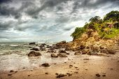 Dramatic storm on the beach of Costa Rica, Manuel Antonio national park, Central America, sandy coas