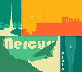 Retro space sci-fi posters