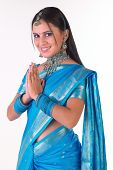 Woman In Blue Sari