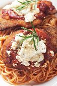 Chicken parmesan, breaded chicken steak with tomato sauce and spaghetti pasta