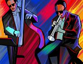 stock photo of trumpet  - Vector illustration of a jazz band with trumpet and double bass - JPG