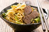 image of lo mein  - fried egg noodles with beef - JPG