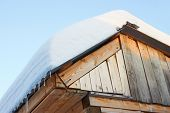 Roof Of Rustic Wooden With Snow