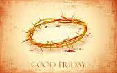 stock photo of thorns  - illustration of Crown of thorns with dripping blood on Good Friday - JPG