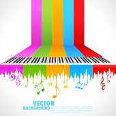 picture of rainbow piano  - illustration of piano key on rainbow color paint - JPG