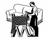Furniture Upholstering - Retro Clip Art Illustration