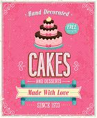 Vintage Cakes Poster. Vector illustration.