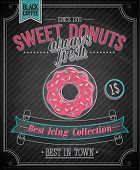Donuts Poster - Chalkboard. Vector illustration.