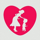 White silhouette of a mother and her son in a pink heart shape for Happy Mothers Day celebration.
