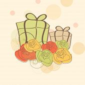 Happy Mothers Day background with gift boxes and flowers.