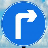 Turn right ahead traffic sign