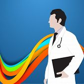 Abstract World health day concept with illustration of a doctor.