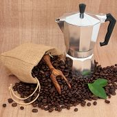 Espresso coffee percolator, beans in a hessian sack  with scoop and leaf sprigs over papyrus backgro