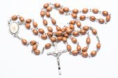 picture of prayer beads  - Rosary beads on white background - JPG